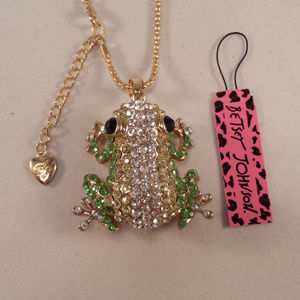 Betsey Johnson Green Frog Necklace + Free Gift!